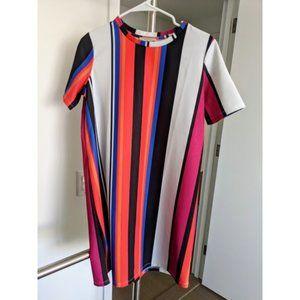 Zara Striped Multi Mod Shift Dress Size Small NWT